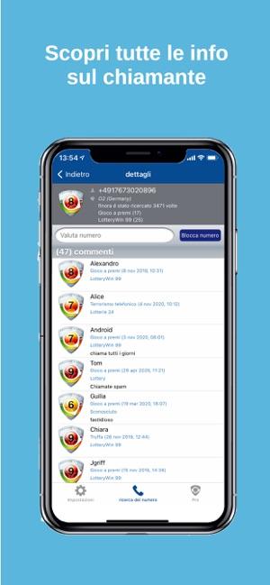 tellows Caller ID e Blocco Screenshot