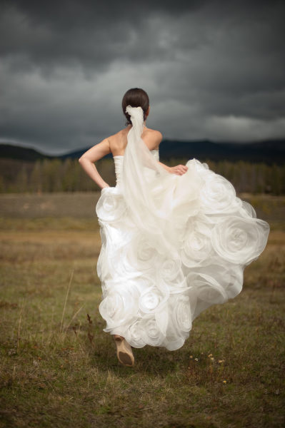 clouds flowers dress wedding bridal portrait