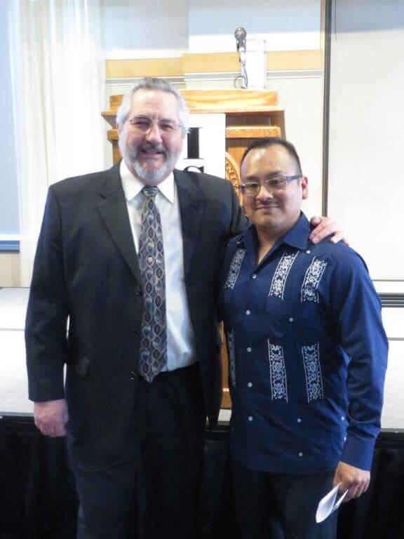 Dr. Rubén Martinez, keynote speaker, left, with Adrian Vazquez, Hispanic American Council executive director.