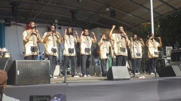 Ladysmith Black Mambazo, a male acappella group from South Africa performing at the Bush Fire festival in Swaziland. They won a grammy with Paul Simon for their collaboration on the 2010 World Cup anthem.