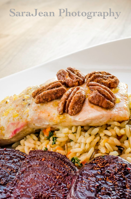 Maple Curry Salmon with Spiced Pecans
