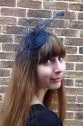Navy Net and Arrow Feather Fascinator