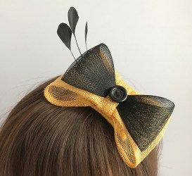 Gold and Black Fascinator - Gold Sinamay, Black Crin, Black Flag Feathers by Isabella Josie