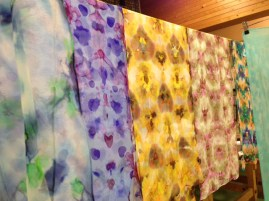 Variety of itajime (clamped) shibori scarves worked on silk gauze by students