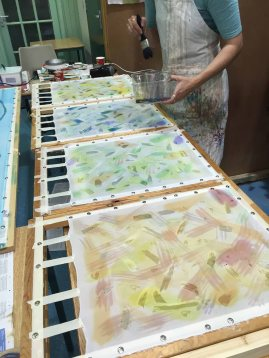 Inspired by her sampler, this student made four related panels built in several layers