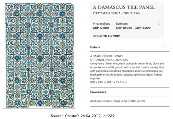 Christie's 26.04.2012 lot 239 mentioning a previous auction as a provenance