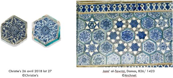 2 tiles from Lockwood De Forest collection sold at Christie's and their close connection to the Jami' al-Tawrizi in Damascus