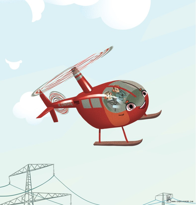 Ronnie the helicopter, dave hoppman isabelle arne, children book illustration