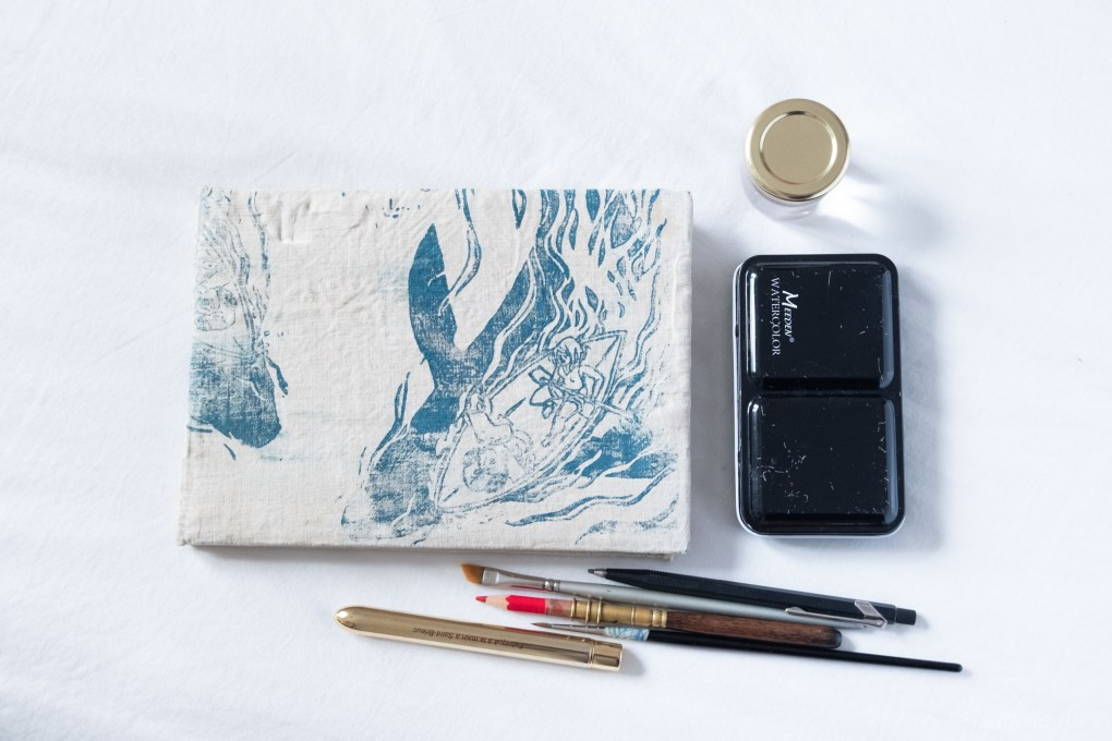 Minimalist watercolor set for hiking and travels