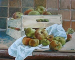 """oil on canvas """"cagette de pommes"""""""