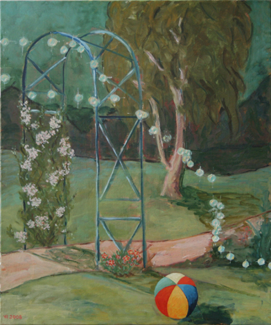 "oil on canvas ""dans le jardin"""
