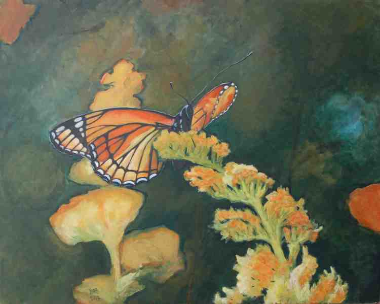 "oil on canvas ""étude papillon 1"""