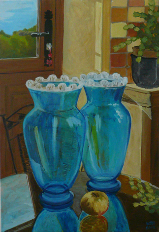 "oil on canvas ""les deux vases"""