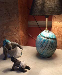 pieds de lampe en raku, isabelle barrandon