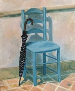 parapluie et chaise bleue