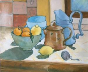 huiles sur toiles, Agrumes et Poteries