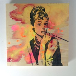 "12x12"" painting on wood to purchase: Audrey Hepburn"
