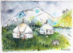 Yourtes d'hiver, Mongolie