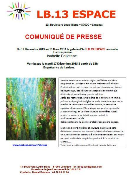 Exhibition solo to LB13 gallery – Limoges