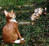 deux chats - papier maché