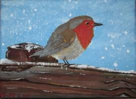 Snowy Robin - Acrylic