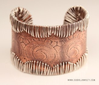 """Western Lace"" Sterling silver and copper cuff bracelet."