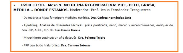 Mesa de Medicina Regenerativa en las IX Jornadas AMECLM