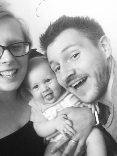 Selfie of us and the baby in black and white