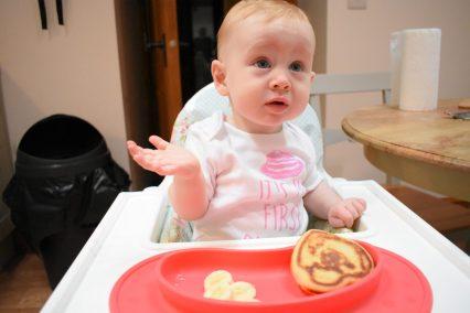 Our baby enjoying her first ever pancake on pancake day
