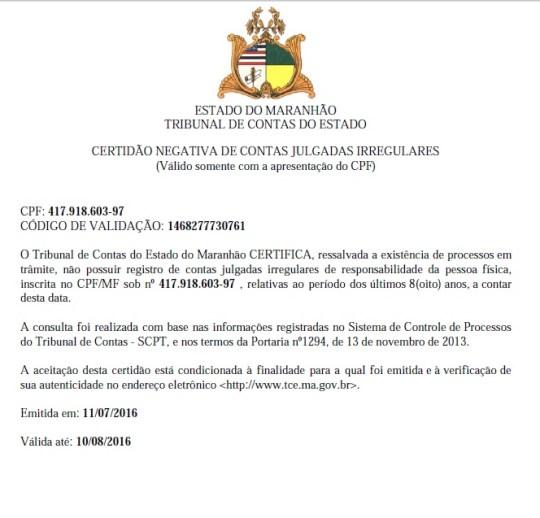 Certidão diz que CPF de Dr. Liorne consta não possuir registro de contas julgadas irregulares no TCE