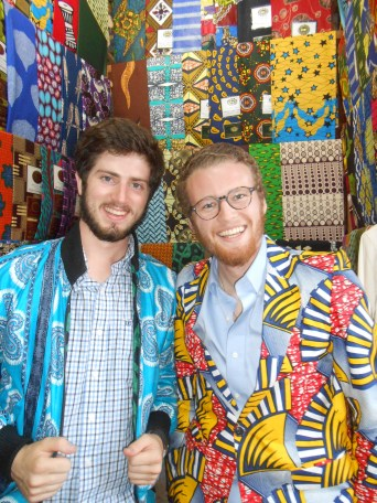 My friend and new roommate (and the only other guy in my program), Drew, with our freshly made Rwandan jackets.