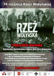 Ostrołęka plakat_74 rocznica Rzezi Wołyńskiej