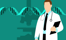 pictorial repersentation of doctor doing genetics analys