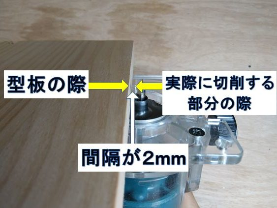 型板の際と切削位置の間隔