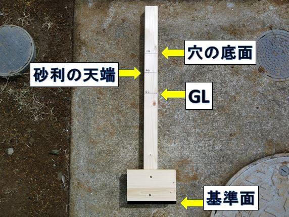 穴の底面・砂利の天端・GLの印