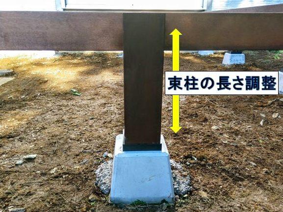 束柱の長さを調整