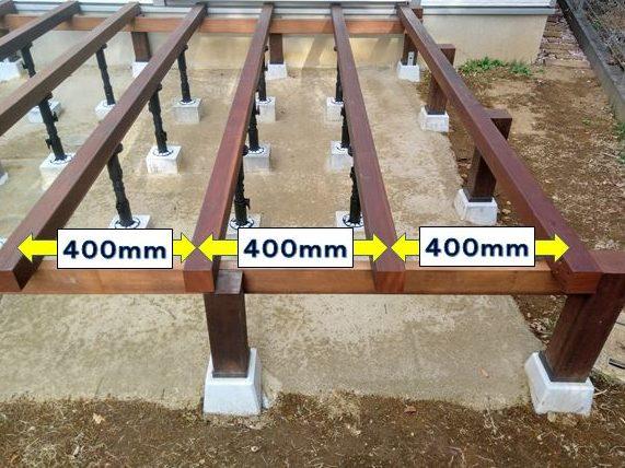 根太を400mm間隔に設置