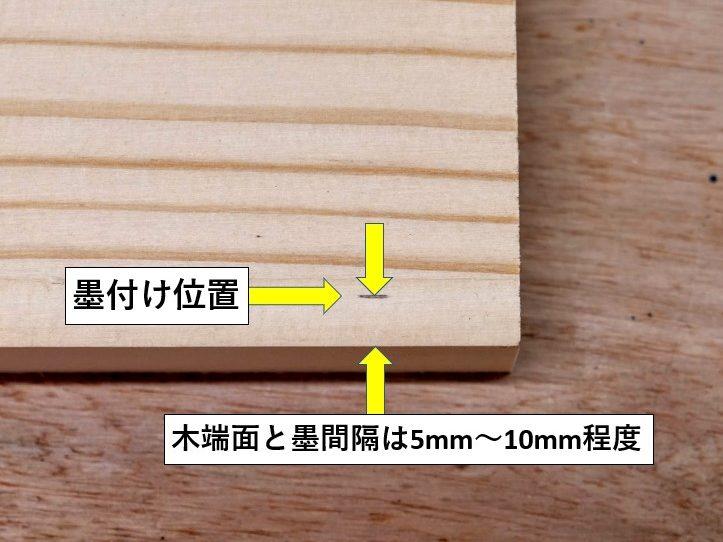 溝の切削範囲を墨付け