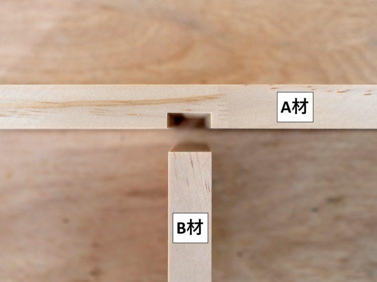 A材(溝をほる)とB材(溝にはめ込む)
