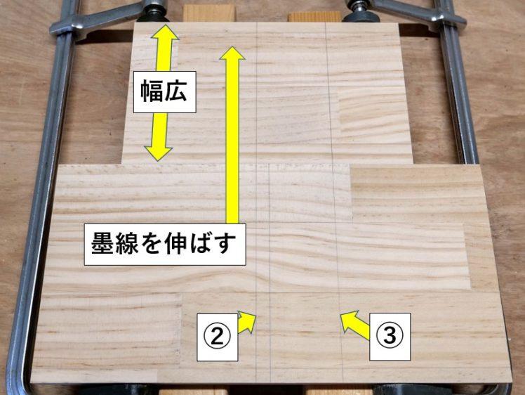 墨線②③を当て木まで伸ばす