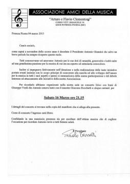 Lettera di invito al concerto firmata dal Presidente Paolo Tasselli.