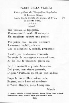 Sonetto del Prof. Arturo Sardini dedidacato alla Visita alla Tipografia Cingolani degli alunni di una Scuola Media Marietta Gioia di Casette d'Ete, il 14-03-89.