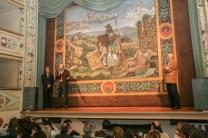 ll Sindaco Sergio Paolucci insieme ad Andrea Bovari ed al Dott. Gabriele Barucca della Soprintendenza di Urbino. Inaugurazione restaurato sipario del giorno 18/11/2006. Foto di Luigi Anzalone.
