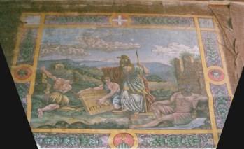 Il sipario dedicato a Minerva prima del Restauro. Foto di Bruno Grandinetti.
