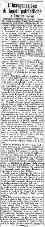 Articolo di giornale del novembre 1913 che riguarda l'inaugurazione delle lapidi patriottiche. Archivio Storico Comunale Potenza Picena.