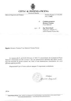 Lettera del Sindaco Francesco Acquaroli del giorno 17/3/2016 al comitato promotore restauro fontana.
