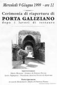 Locandina di inaugurazione della Porta di Galiziano dopo i lavori di restauro.