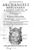 Frontespizio del volume di Arcangelo Mercenari del 1582. ASCPP.