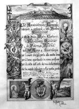 Pergamena, opera del Prof. Giuseppe Asciuttti del 1956, dedicata al 50° Anniversario di Sacerdozio di padre Pietro Carlucci. Arc. Famiglia Asciutti.