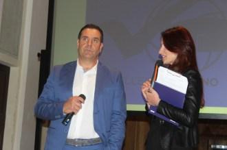 In primo piano il D.G. Carlo Muzi. Foto di Emanuele Trementozzi Presentazione del libro Passione Schiacciante - Volley Potentino presso l'Auditorium Scarfiotti di Potenza Picena. Il giorno 23-4-2016.
